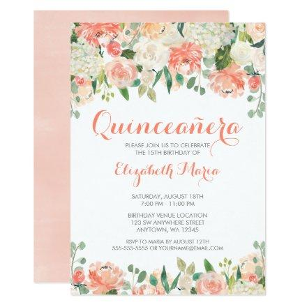 Pastel Watercolor Flowers Quinceañera Invitation