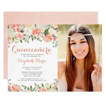 Pastel Watercolor Flowers Quinceañera Photo