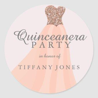 Peach Coral Glitter Gown Party Classic Round Sticker