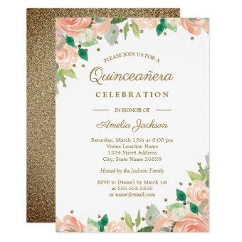 Peach Gold Glitter Floral Invite