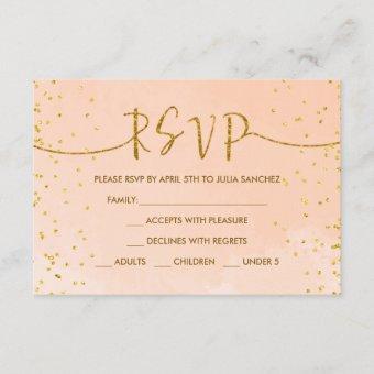 Peach Gold RSVP Card for Quinceañera Invitation