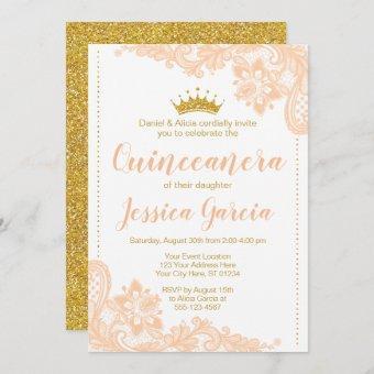 Peach Lace and Glitter Gold Princess Quinceañera