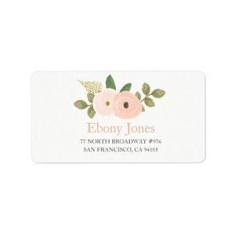 Peach Watercolor Flower Address Label