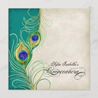 Peacock Feather Teal Blue Damask Party