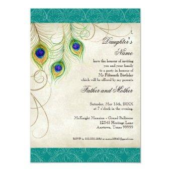 Peacock Feathers Aqua Damask Party