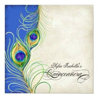Peacock Feathers Blue Damask Party