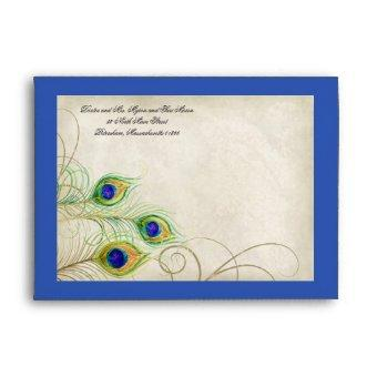 Peacock Feathers Royal Blue Wedding Envelope