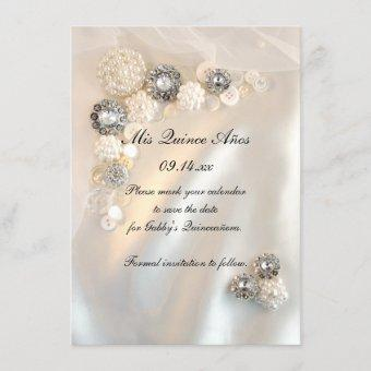 Pearl Diamond Buttons Quinceañera Save the Date