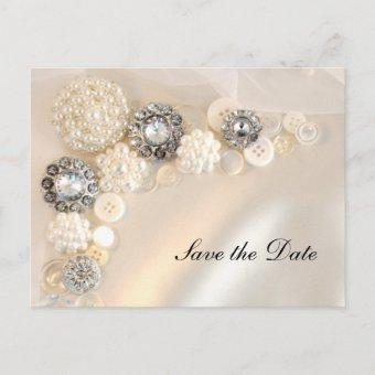 Pearl Diamond Buttons Quinceañera Save the Date Announcement Post