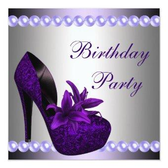 Pearls Purple High Heels Shoes Birthday Party