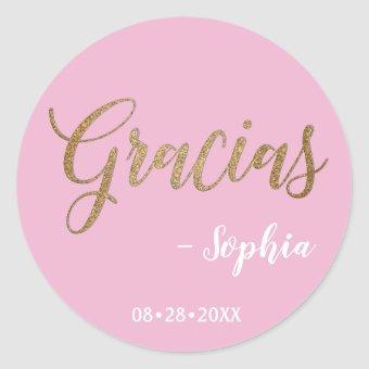 Personalized Pink and Gold Gracias Script Classic Round Sticker