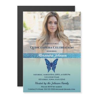 Photo Glitter Blue Butterfly Magnetic