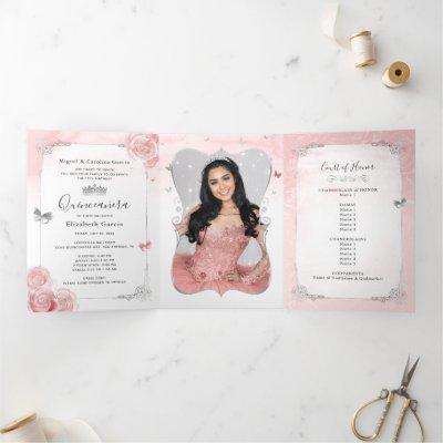 Photo Spanish Light Pink Silver Tri-Fold