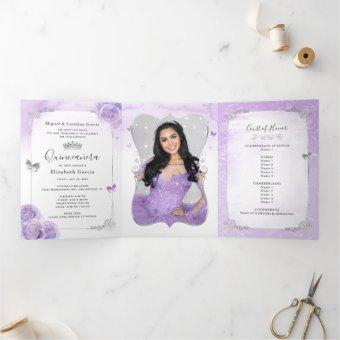 Photo Spanish Light Purple and Silver Tri-Fold