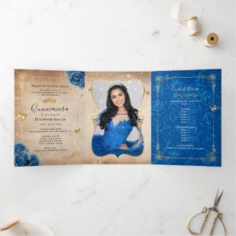 Photo Spanish Royal Blue Rose Gold Tri-Fold