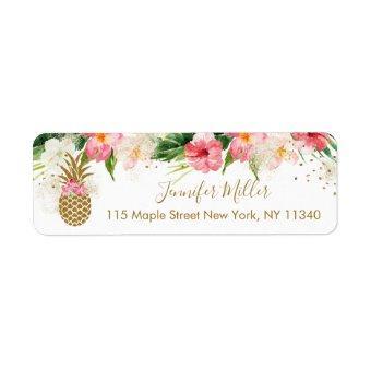 Pineapple Tropical Floral Bridal Shower Label