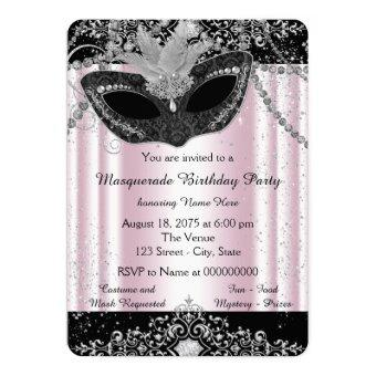 Pink and Black Glitter Masquerade Party