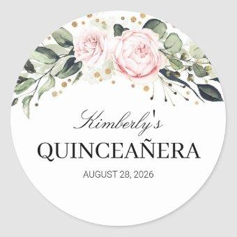 Pink and Gold Floral Classic Round Sticker