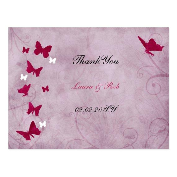 pink and purple vintage butterfly Thank You Post