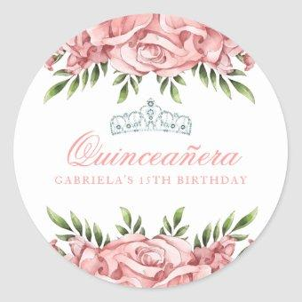 Pink and White Floral Classic Round Sticker