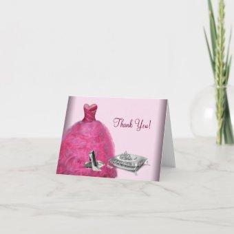 Pink Ball Gown High Heels Tiara Thank You