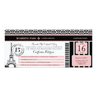 Pink Black Damask Paris Boarding Pass