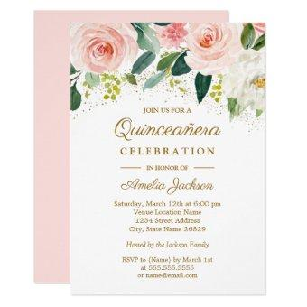 Pink Blush Gold Watercolor Floral