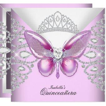 Pink Butterfly Tiara 15th Party
