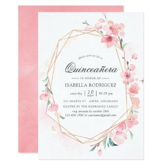 Pink Cherry Blossom Geometric Spring Quinceañera