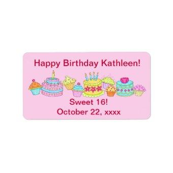 Pink Cupcakes /Cake Happy Birthday Sweet 16 Label