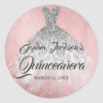 Pink Diamond Sparkle Gown Classic Round Sticker
