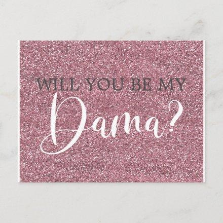 Pink Faux Glitter Dama Proposal Post
