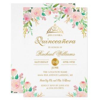 Pink Floral Gold Tiara Quinceañera 15th Birthday