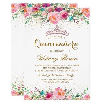 Pink Floral Tiara 15th Birthday Invite