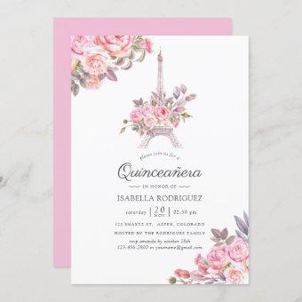 Pink Floral Watercolor Paris themed Quinceañera