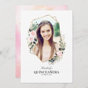 Pink Flower and Gold Confetti Photo