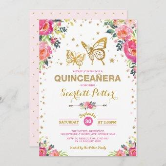 Pink Gold Floral Butterfly Quinceañera Birthday