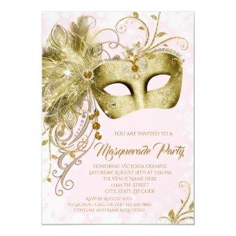 Pink Gold Glitter Masquerade Party