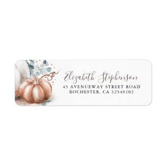 Pink Gold Pumpkin Fall Harvest Fairy Tale Label