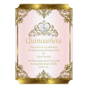 Pink Gold White Pearl Princess Quinceanera Invitations
