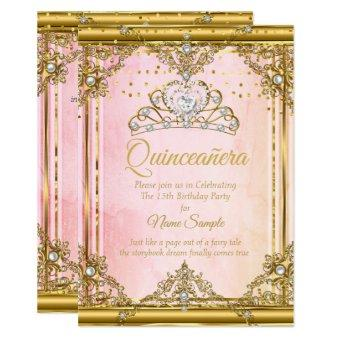 Pink Gold White Pearl Tiara Invite