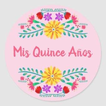 Pink Mis Quince Anos Mexican Fiesta Flowers Classic Round Sticker