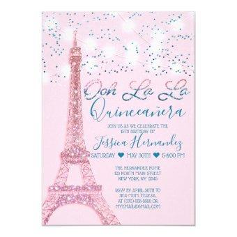 Pink Paris Eiffel Tower Glitter Lights Quinceañera