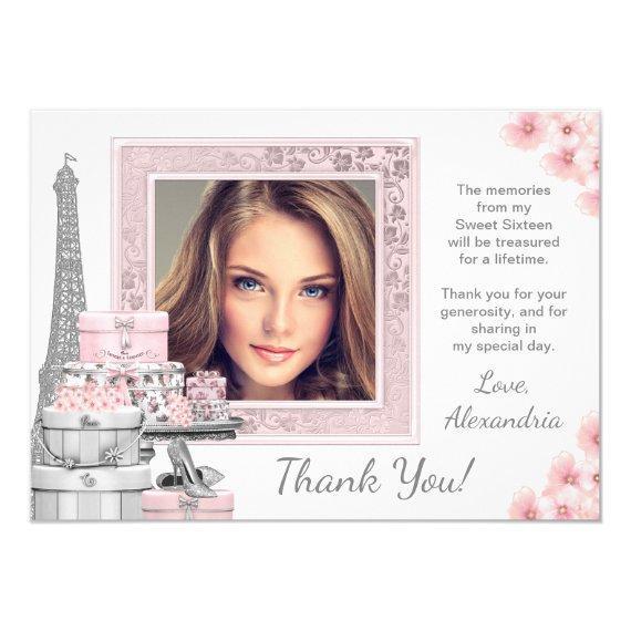Pink Paris Sweet 16 Thank You