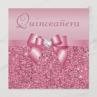 Pink Printed Sequins & Bow