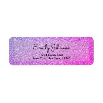 Pink Purple Glitter and Sparkle Label