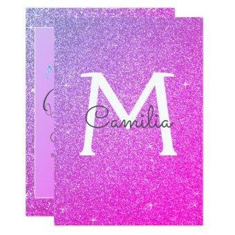 Pink Purple Glitter Monogram Sparkle