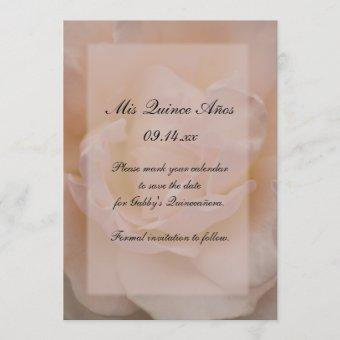 Pink Rose Floral Quinceañera Save the Date