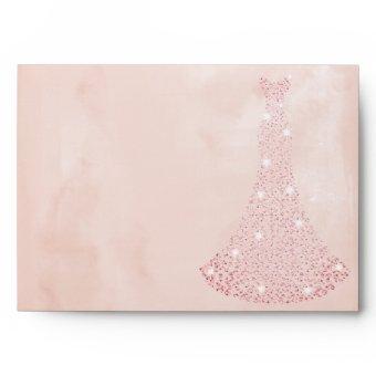 Pink Rose Gold Dress all Birthday / Bridal Envelope