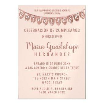 Pink Rose Gold Glitter Banner Español Quinceañera Magnetic